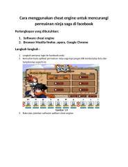 cara menggunakan cheat engine untuk mencurangi permainan ninja saga di facebook.docx