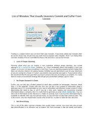 List of Mistakes That Usually Investors Commit and Suffer From Losses.pdf