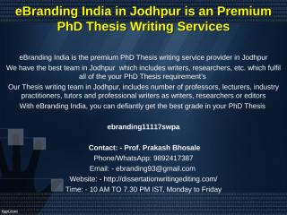 7 eBranding India in Jodhpur is an Premium PhD Thesis Writing Services.ppt